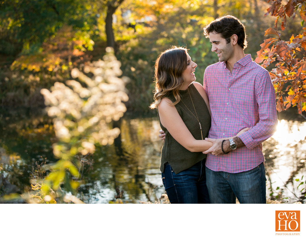Lincoln Park Lily Pond Fall Time Engagement Shoot