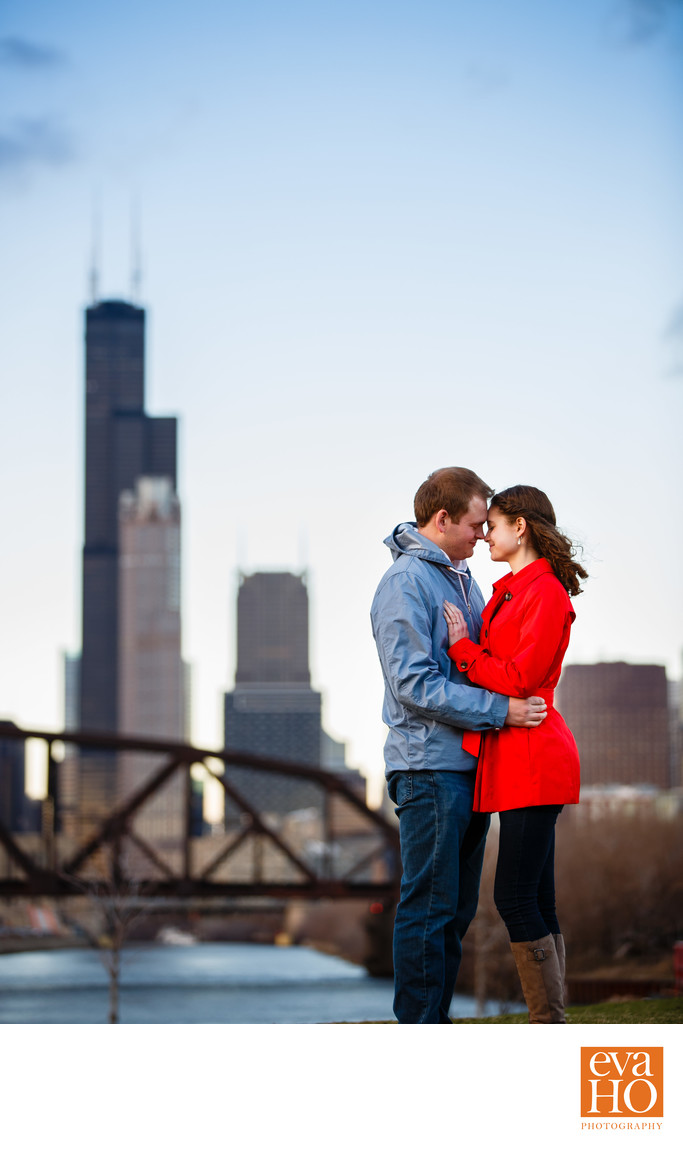 Ping Tom Park Engagement with Willis Tower Background