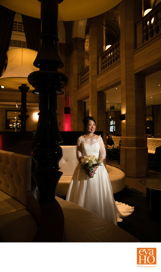 Bridal Portrait at the W Chicago City Center Lobby