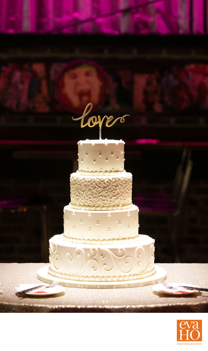 Four-Tier Wedding Cake at Bowling Alley Wedding