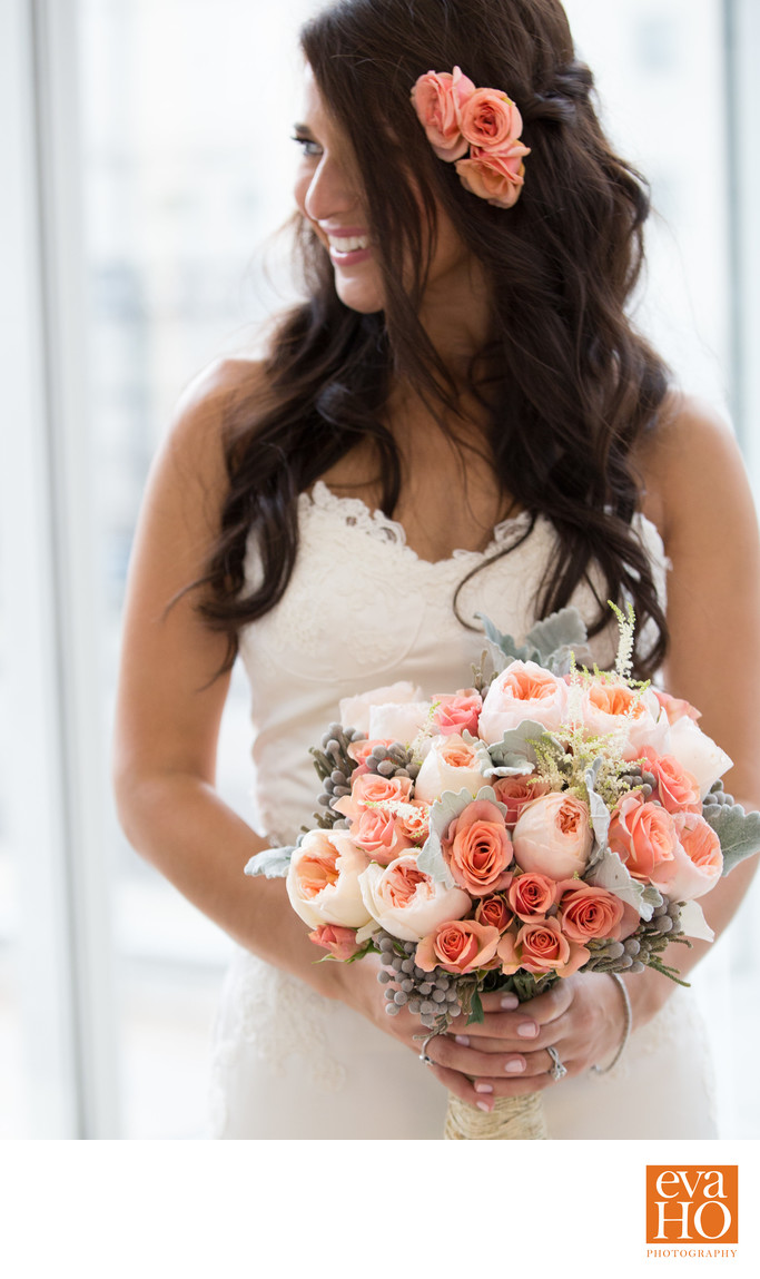 Bride with Her Dreamy Soft Pastel Color Bouquet