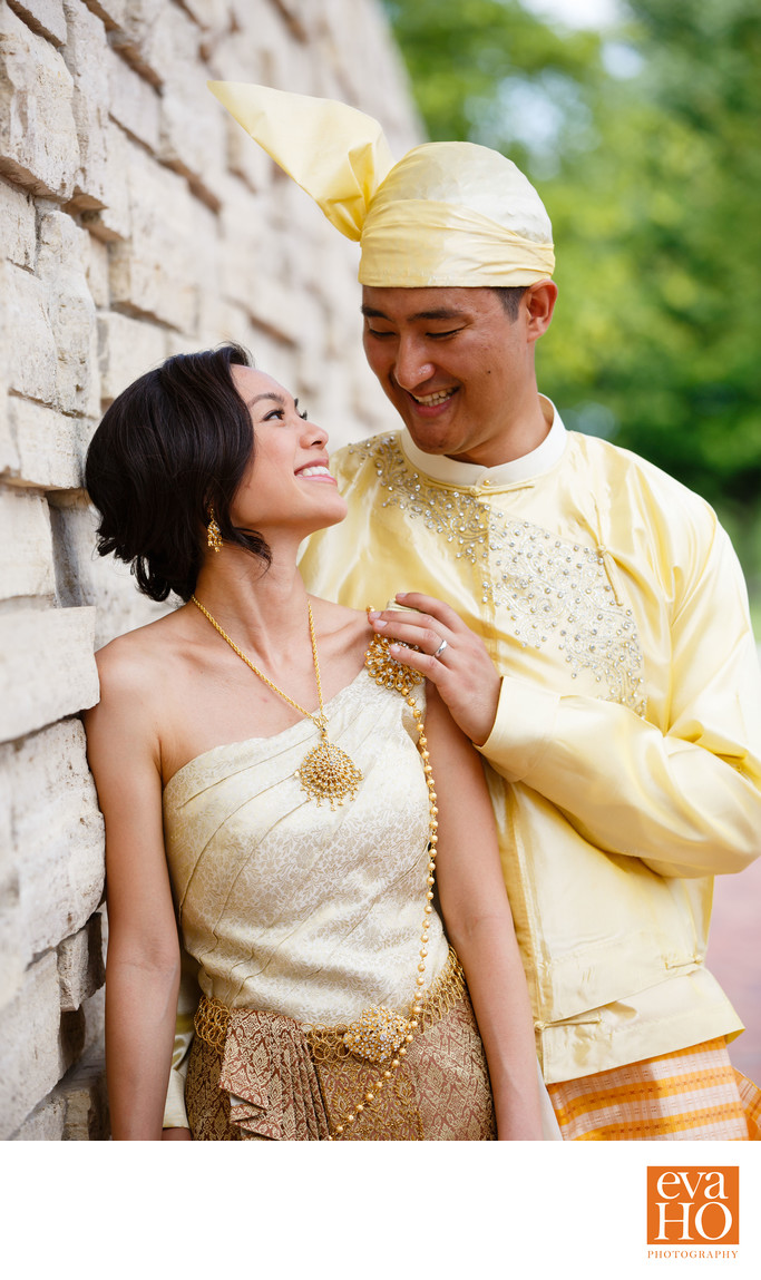 Couple in Their Traditional Thai and Burmese Outfits
