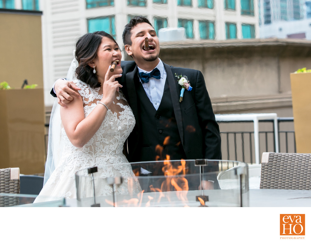 Devina and Joel smoked a cigar to relax just before their wedding ceremony