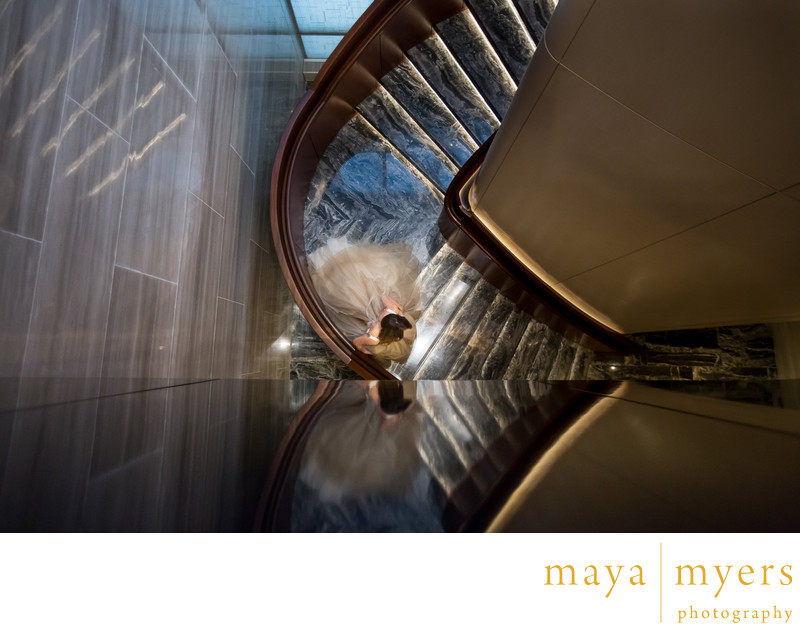 Grand staircase Park Hyatt Hotel New York Wedding Photo