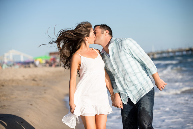 Playful Santa Monica Pier Engagement Photography
