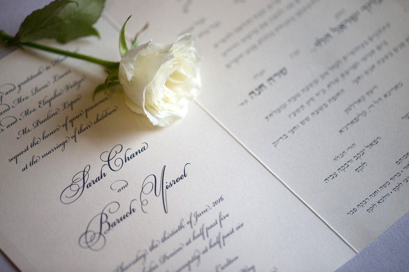 Jewish Wedding Invitation Details at Ritz-Carlton