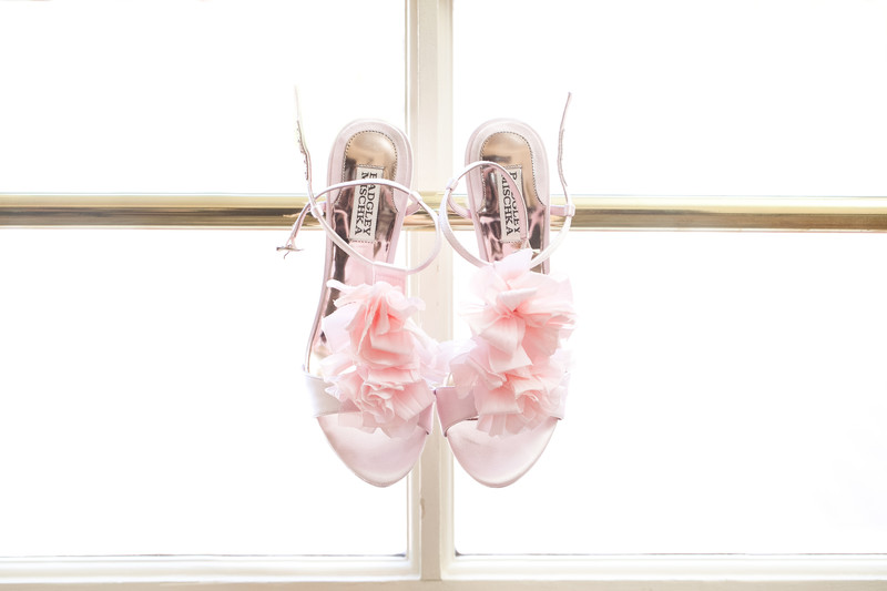 Trendy Blush Colored Bridal Shoes displayed at the Peninsula Hotel in Beverly Hills.