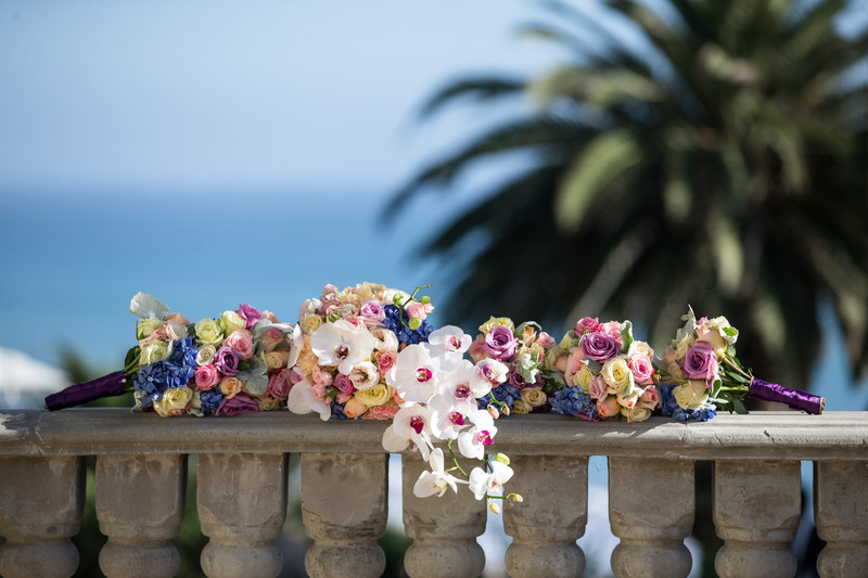 Bride and Bridesmaid's Floral Bouquets at Bel-Air Bay Club