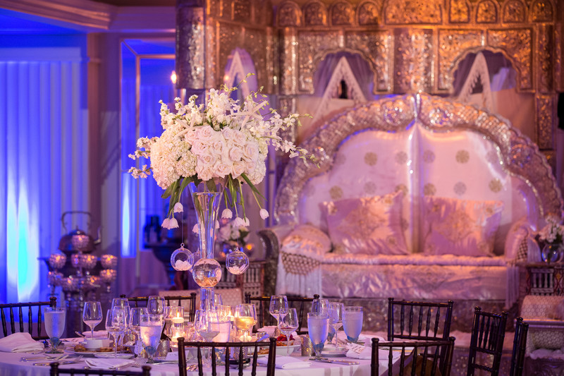 Ornate and traditional Henna Decor in the ballroom at Casa del Mar, Santa Monica