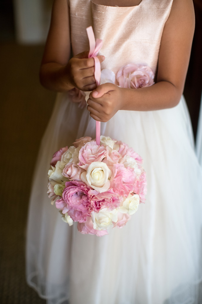 Flower Girl Clutching her Bouquet in Pasadena