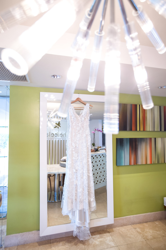 Dreamy Bridal Gown Hanging at the Belamar Hotel in Manhattan Beach