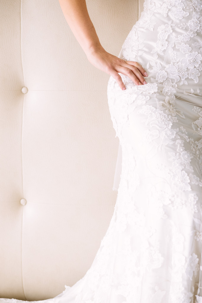 Bridal Curves and Gown Details at the Belamar Hotel in Manhattan Beach