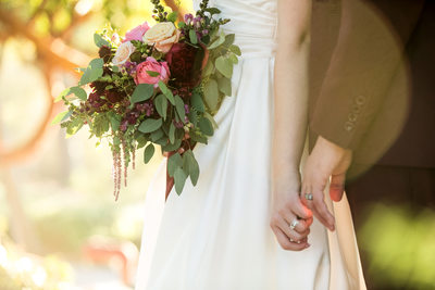 Bridal Bouquet and Wedding Ring Details at Elings Park, Santa Barbara