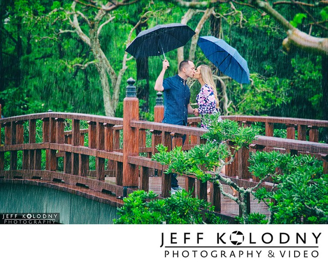 Morikami engagement photography in the rain.