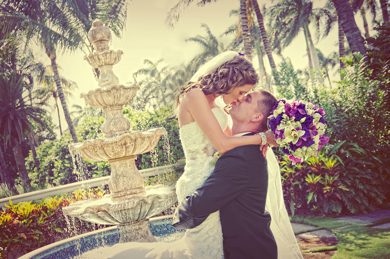 A wedding kiss at The Breakers, Palm Beach FL