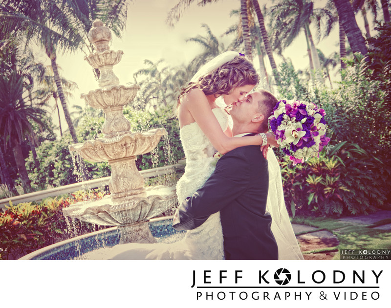 Bride and Groom Kissing at the Breakers in Palm Beach.