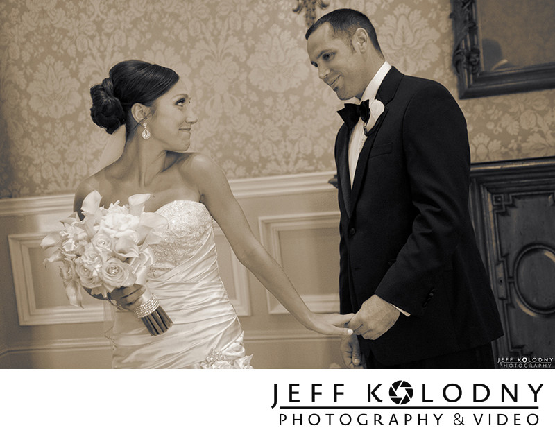 First Look Wedding Photo taken at The Breakers