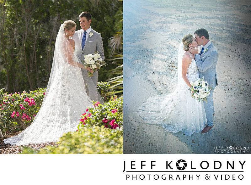 Bride and Groom Kiss at the Ocean Reef Club.