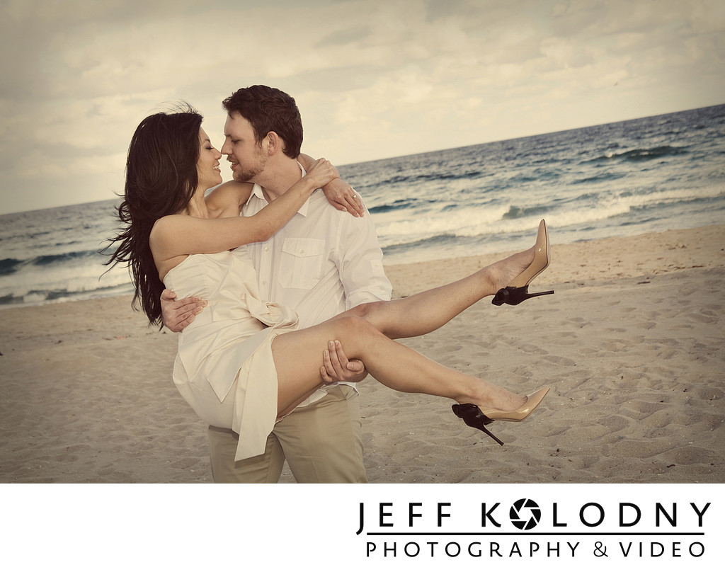 South Florida beach engagement photography.