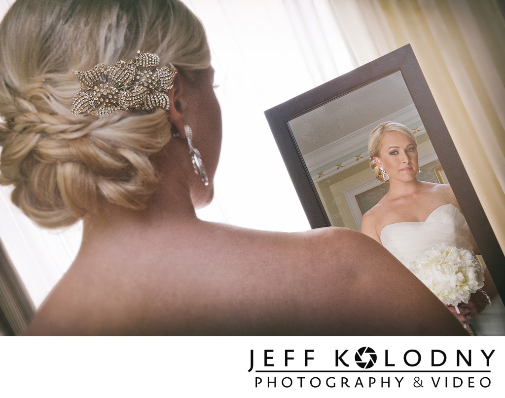Bride in Mirror at The Breakers.
