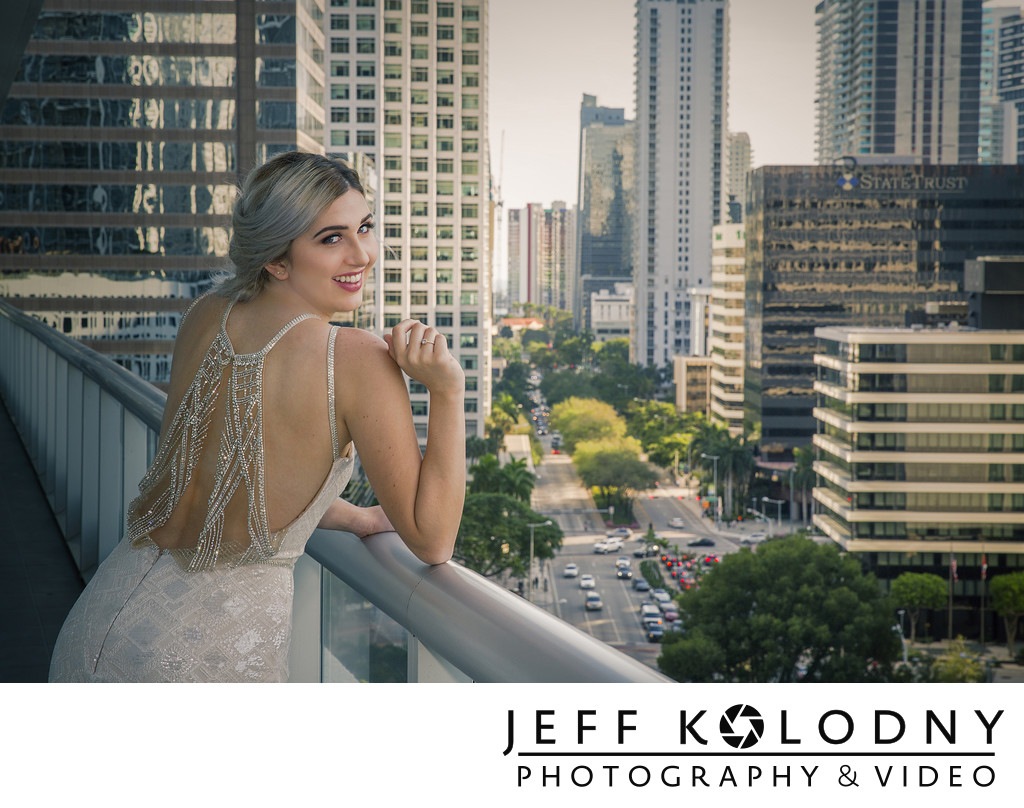 Bride posed on a balcony at the W Hotel in Miami.