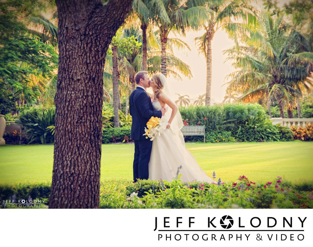 Bride and groom Kiss at The Breakers
