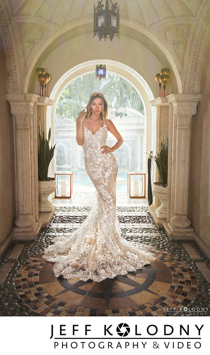 Beautiful bridal photo taken at The Villa Casa Casuarina, South Beach FL