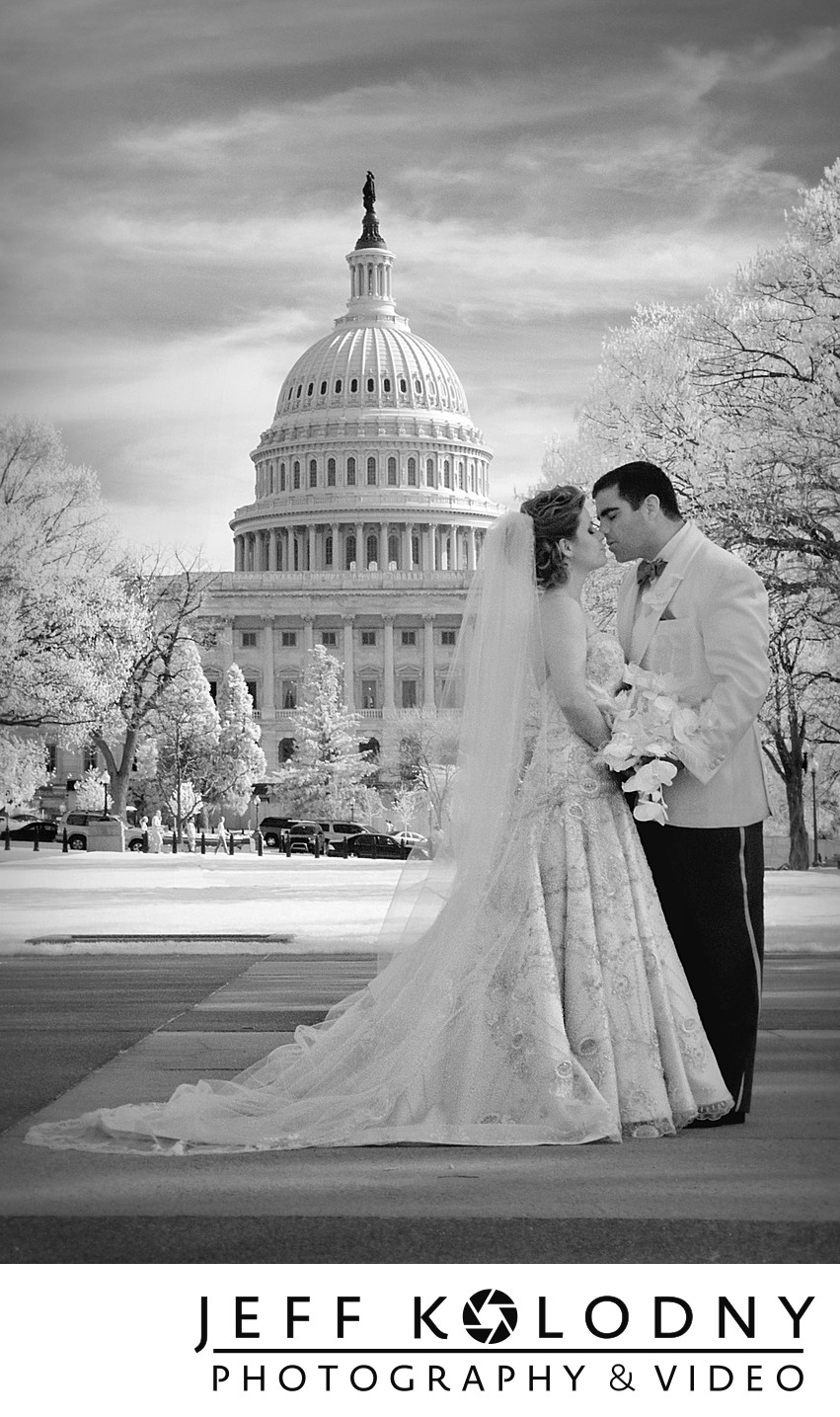 Bride and Groom kissing in Washington DC