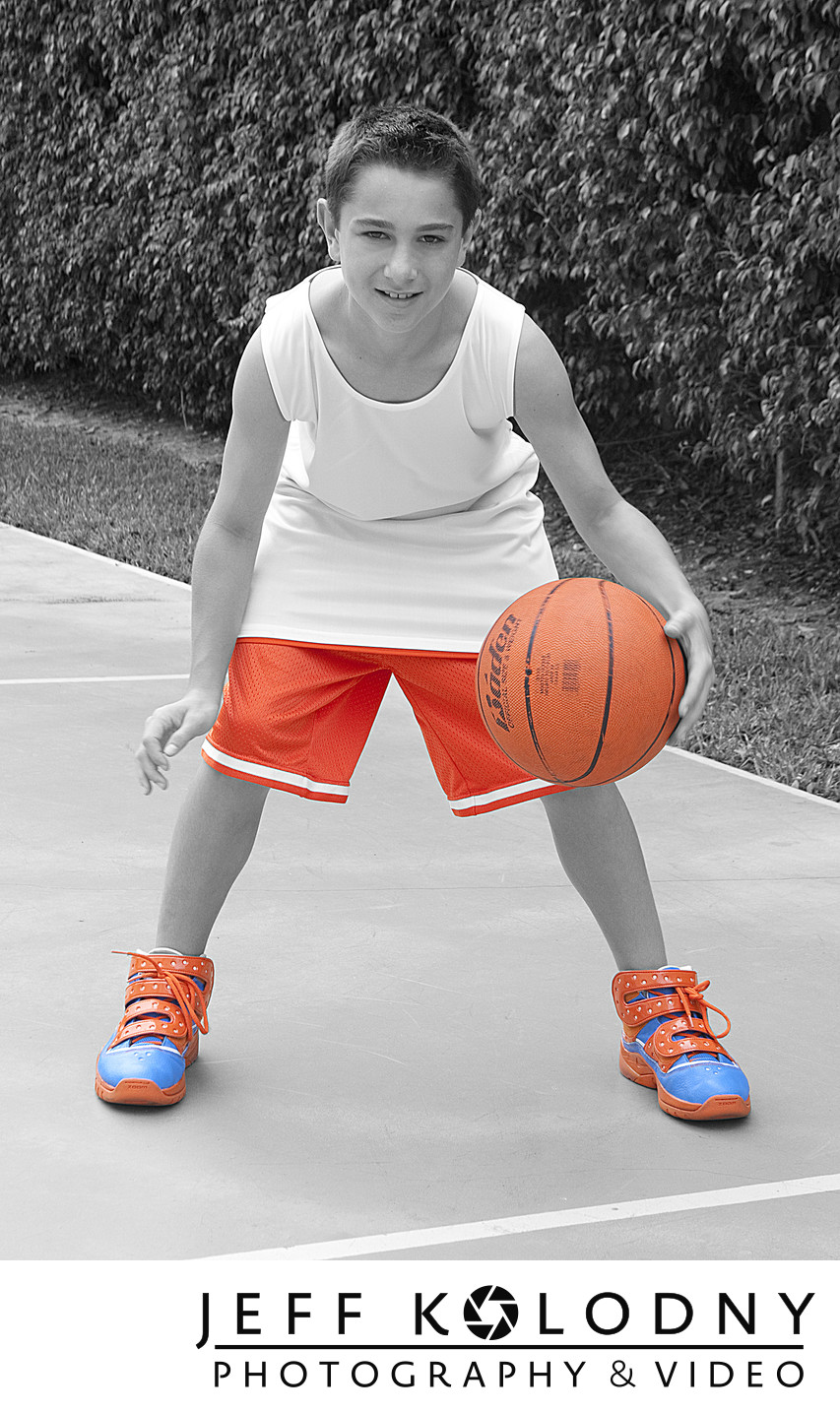 Basket ball themed Bar Mitzvah pre-shoot portrait.