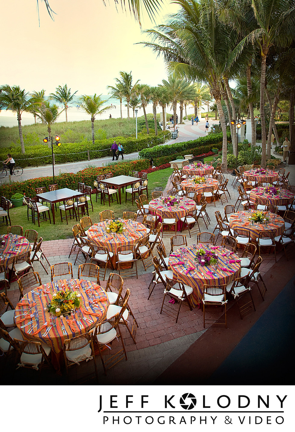 Miami Beach outdoor special event table set up.