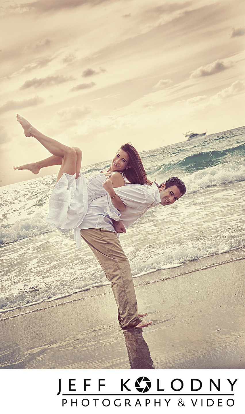 South Florida Beach Engagement Photo