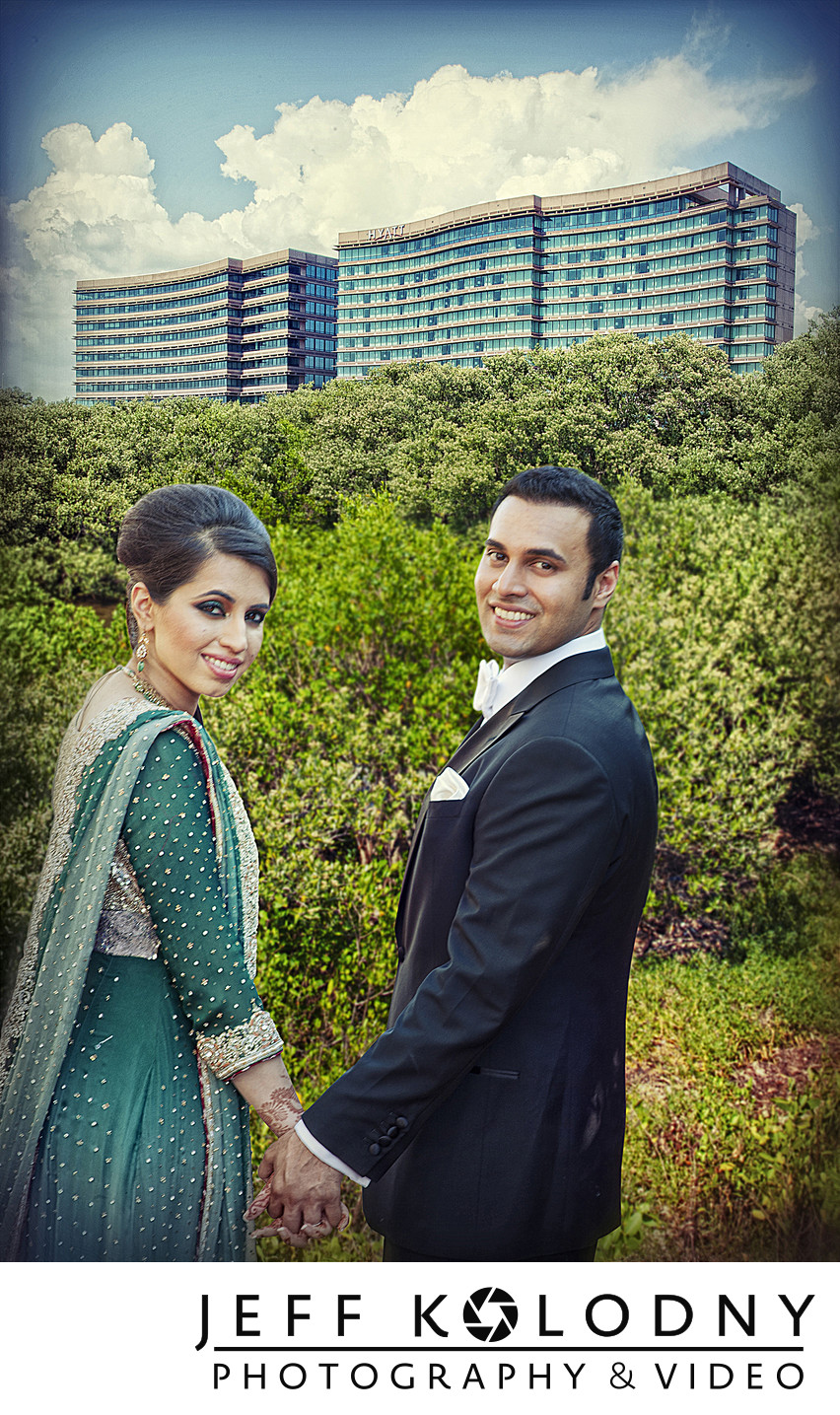 Indian Bride and Groom in Orlando Florida.