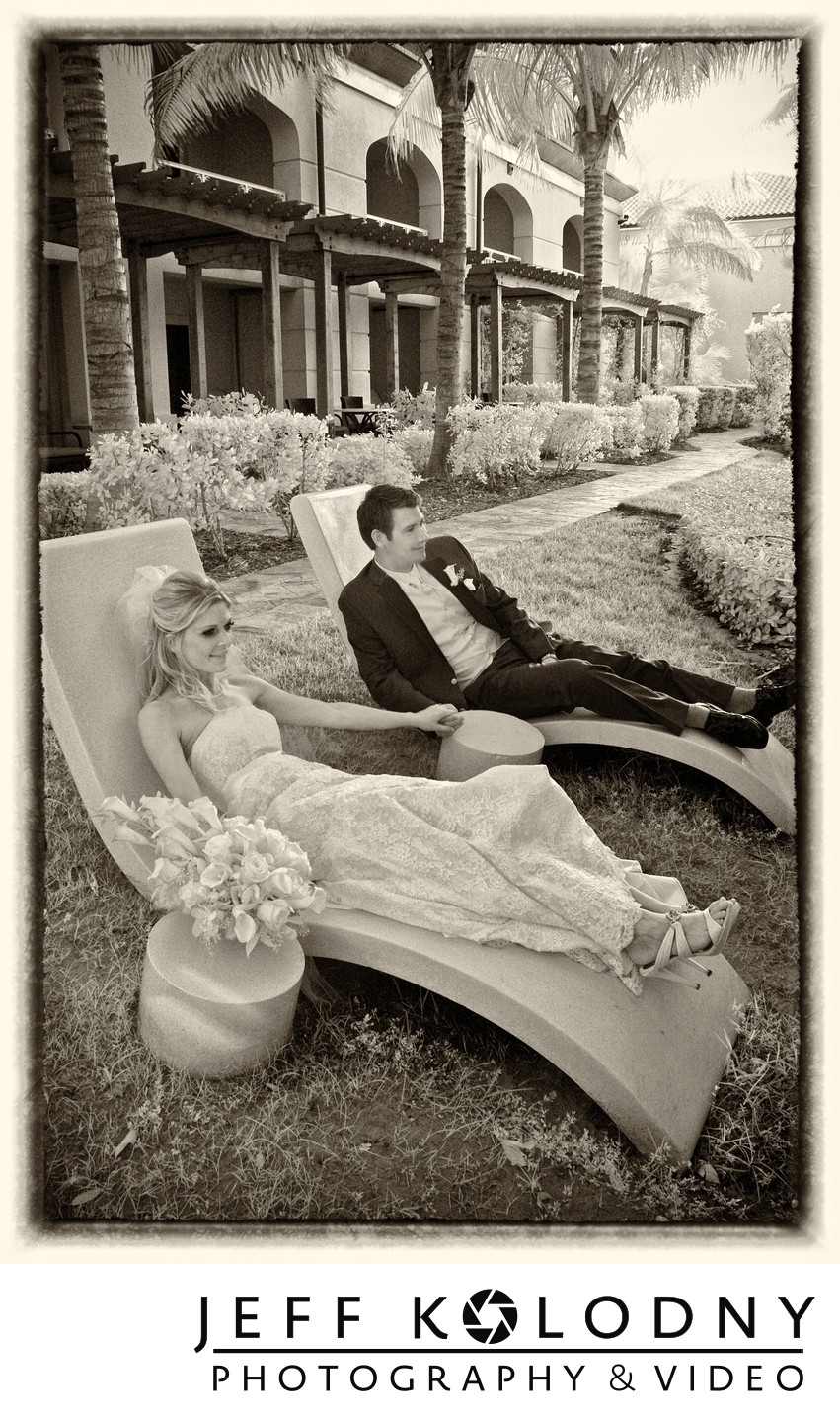Bride and groom relax at the Four Seasons, Palm beach