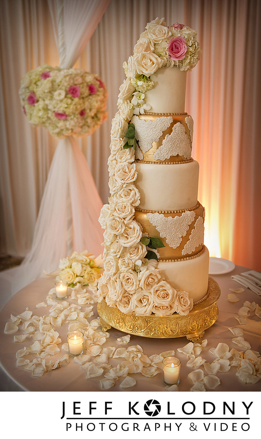 Wedding cake photo taken at the Eau Palm Beach