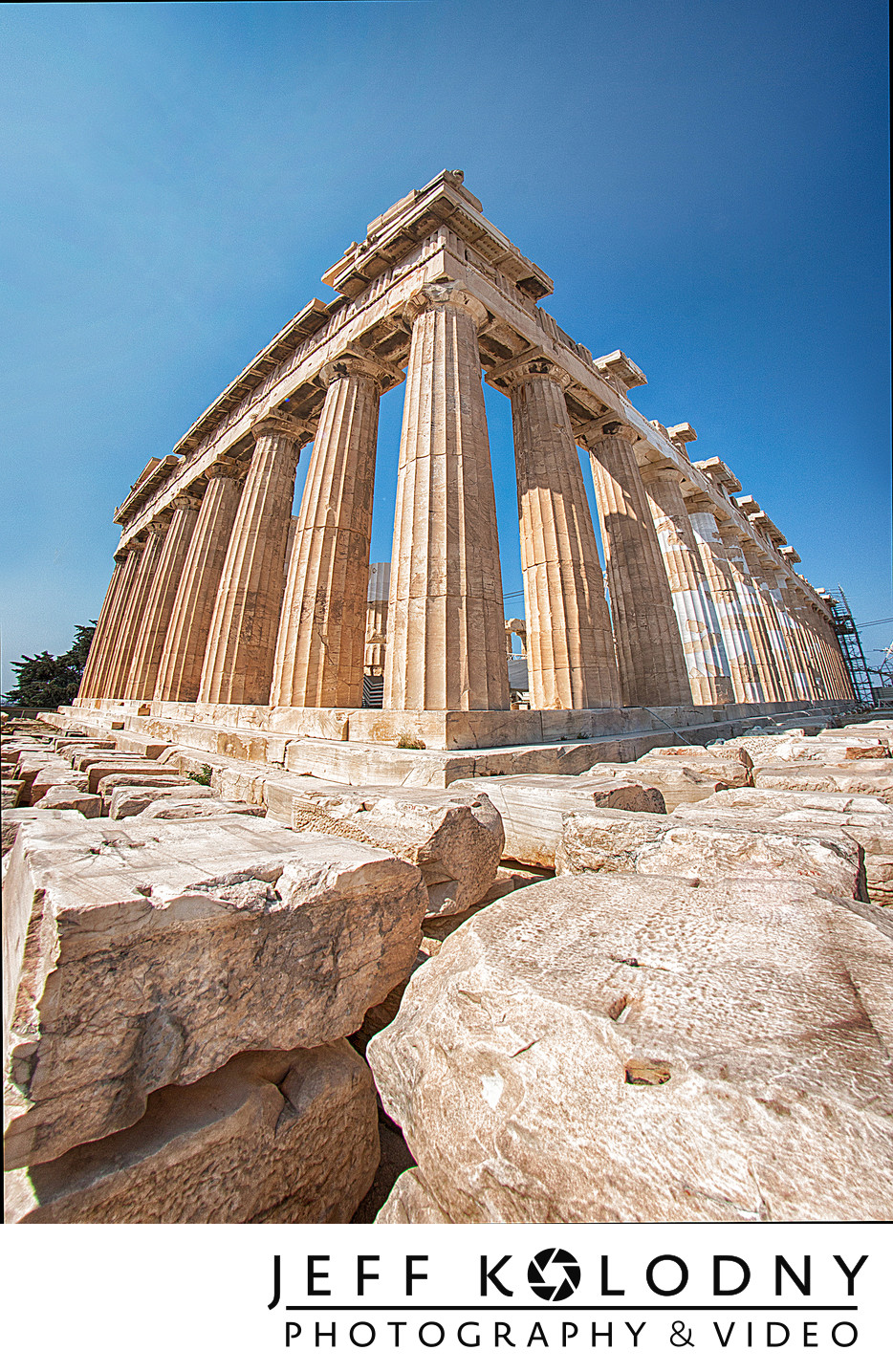 Unique angle of the Parthenon in Greece.