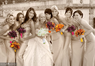 Bride and Bridesmaids at a Vizcaya Wedding Miami