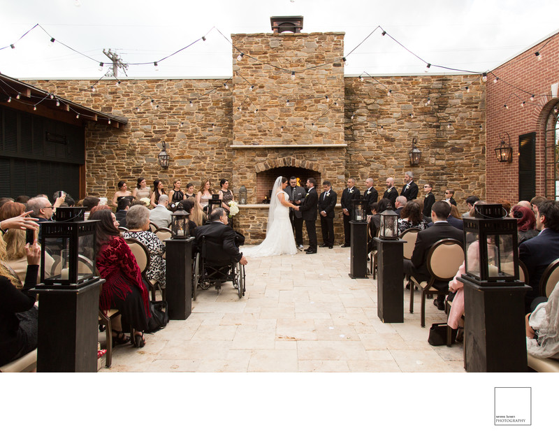 Cafe Madison courtyard wedding ceremony