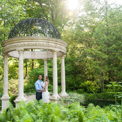 Longwood Gardens Gazebo Engagement Photo