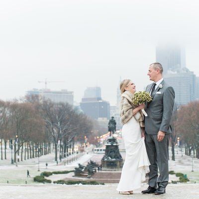 Bride and Groom at Philadelphia Museum of Art