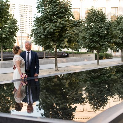 Barnes Foundation wedding bride and groom portrait