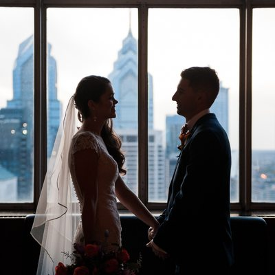 Loews Philadelphia wedding bride and groom skyline