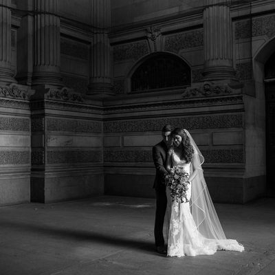 Dramatic bride and groom portrait Philadelphia wedding