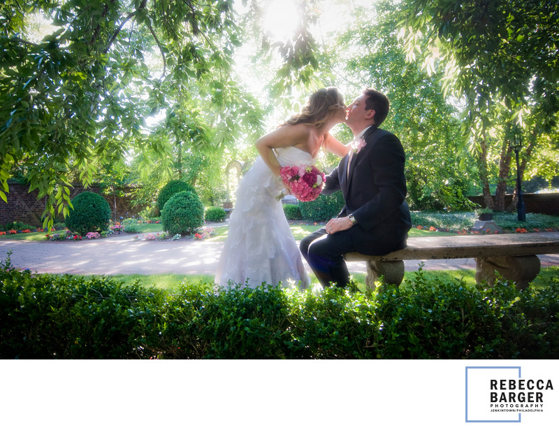 Nicole Bridal kiss at Aldie Mansion