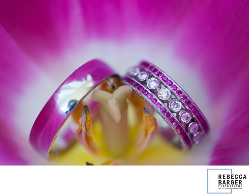 Pink diamond wedding band in Orchid.