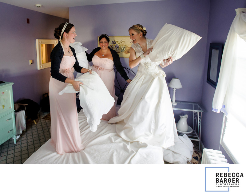 Bridesmaid pillow fight, Laurita Winery wedding.
