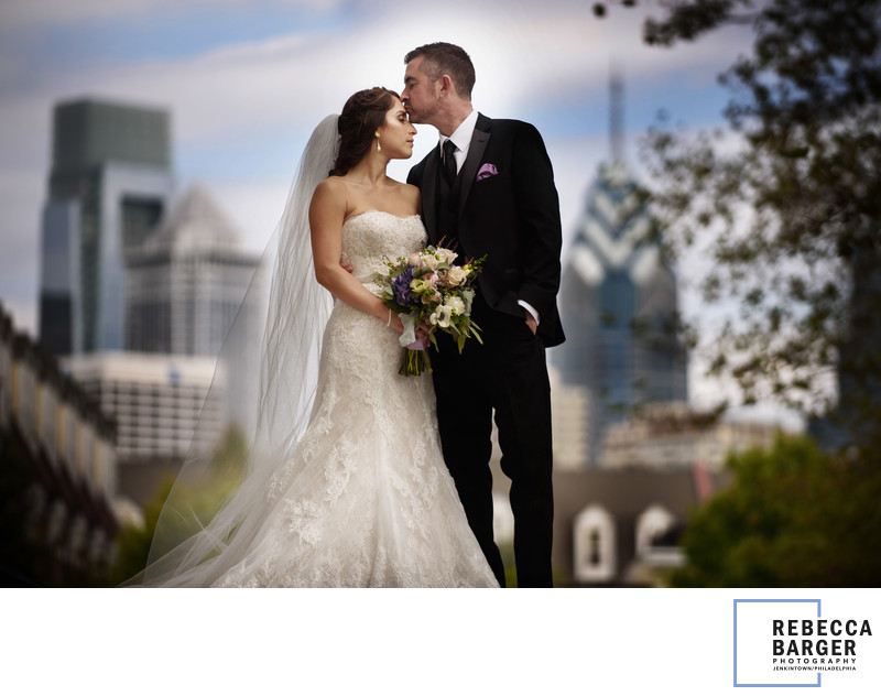 Philly Skyline Wedding Photo