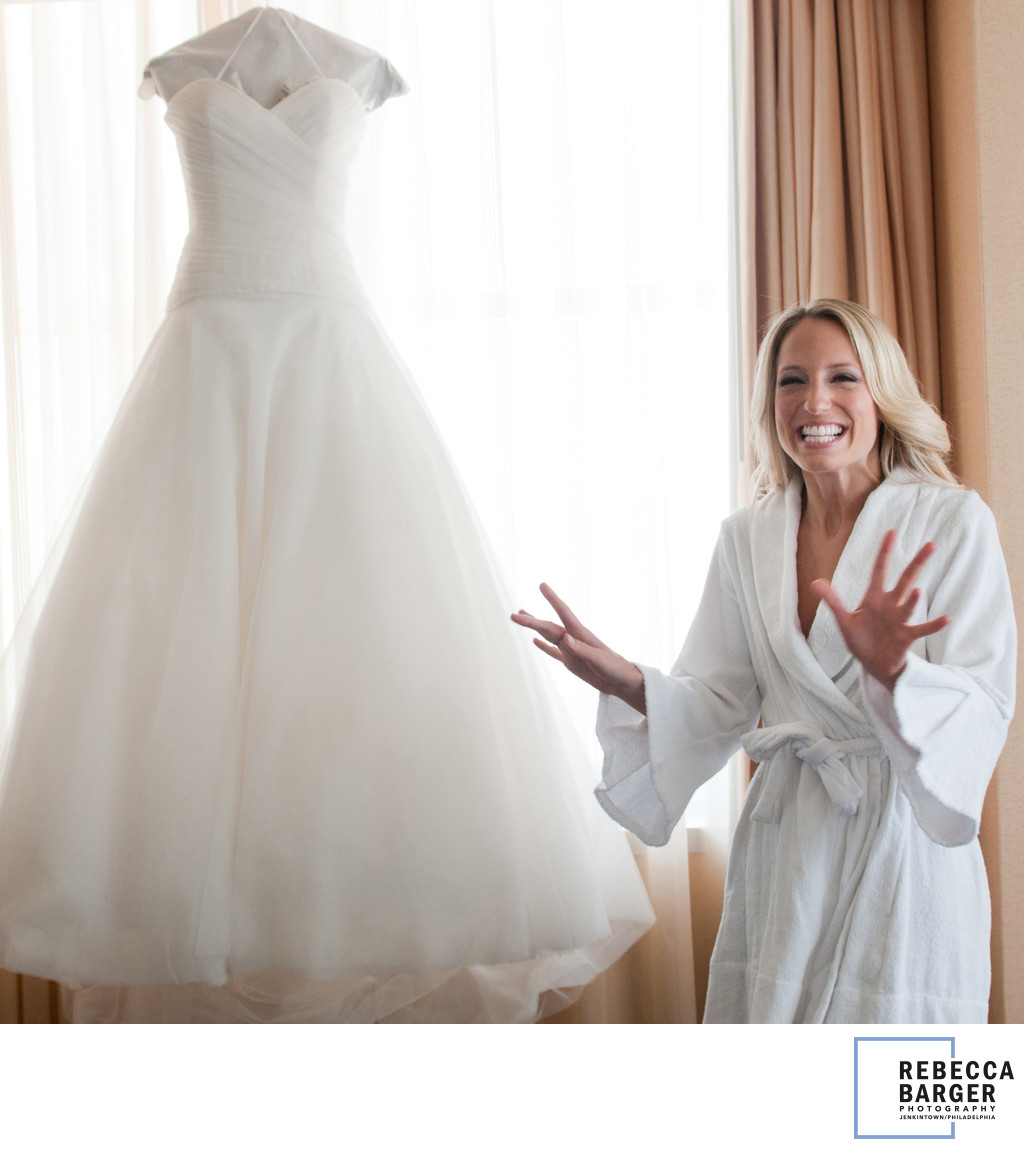 So excited to wear my gown! Loews Hotel.