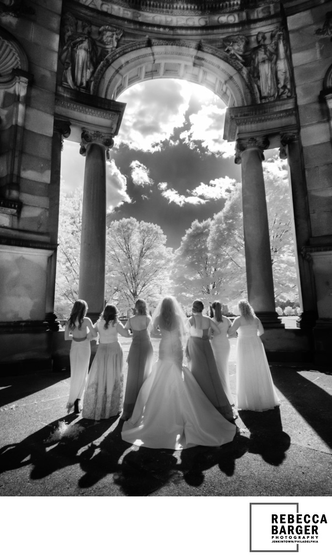 Sunlit bridesmaids, Please Touch Museum, Fairmount Park