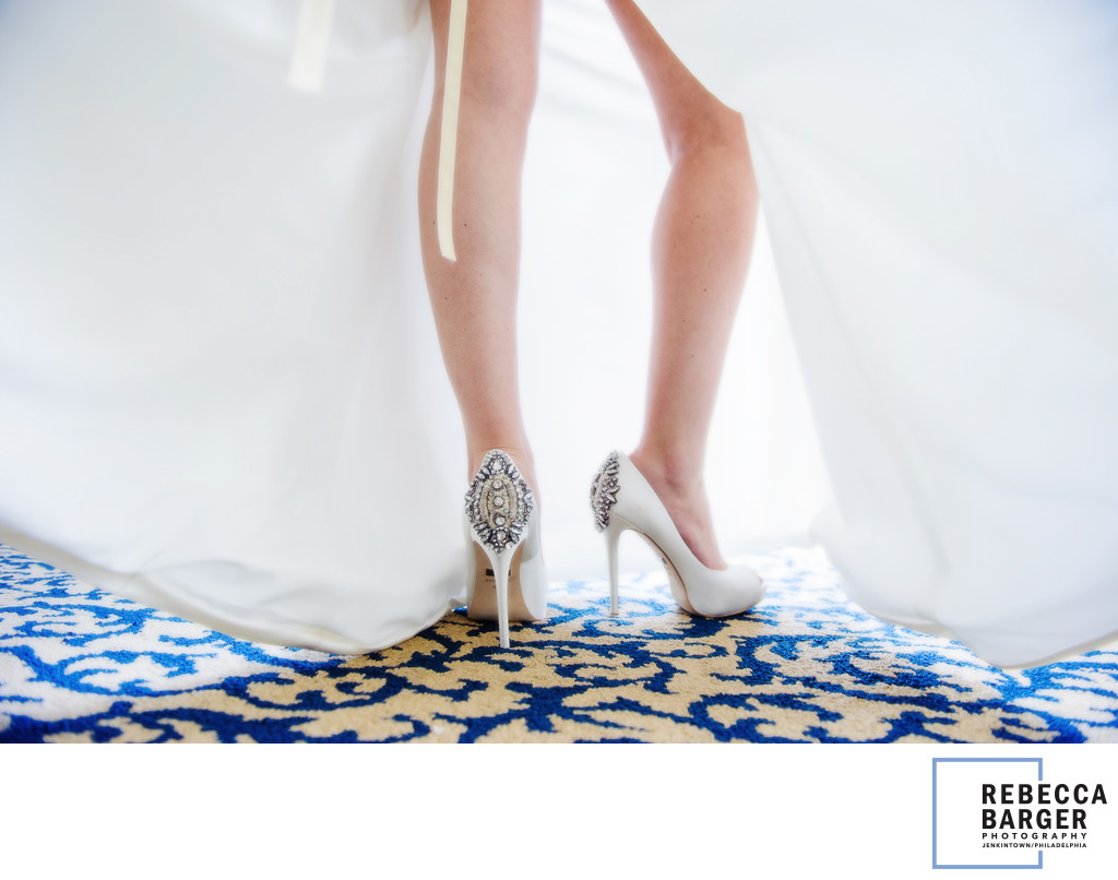 Gorgeous bride's legs and Manolo Blahniks