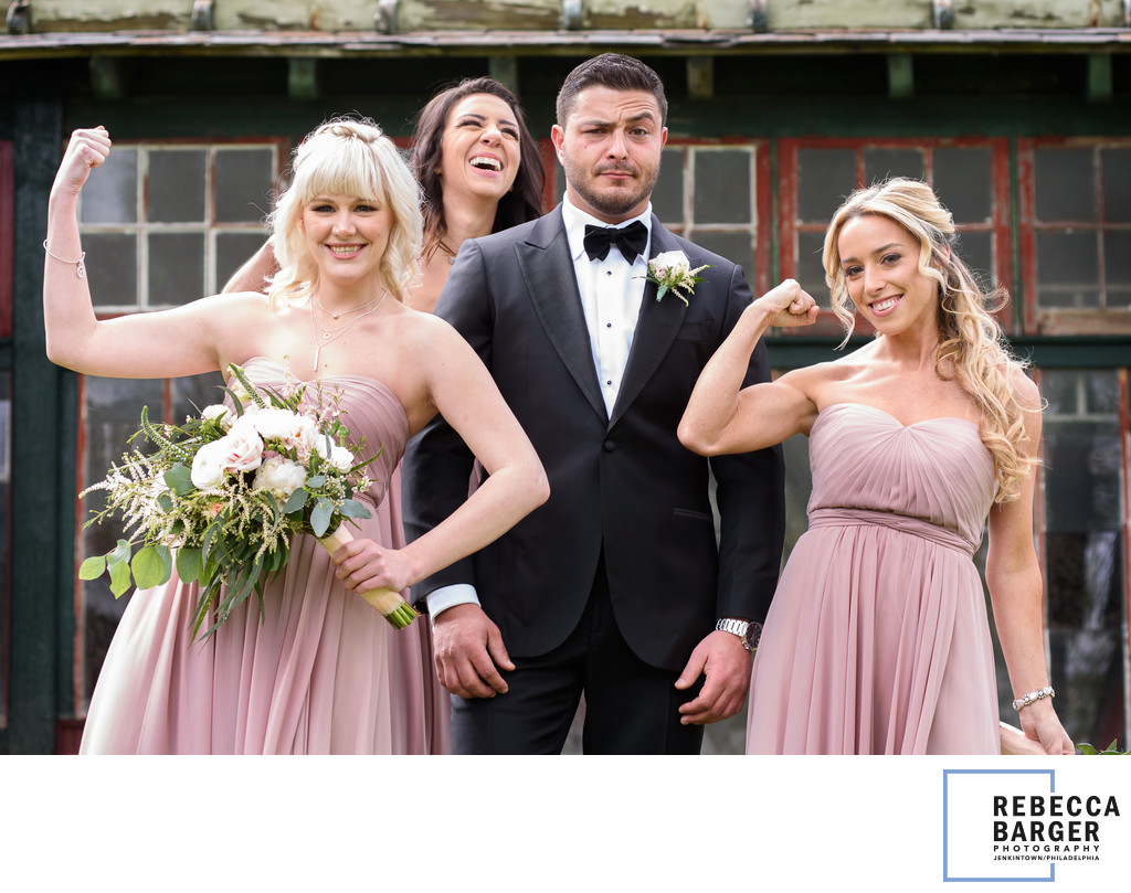 Ladies in blush, groom blushing.